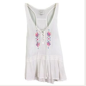 Gilly Hicks White Embroidered Tank Top Size Small